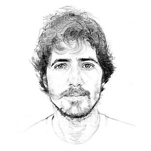 Pencil sketch of Nono Martínez Alonso.